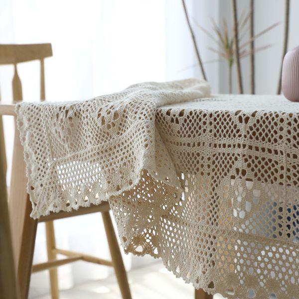 Coperta di mano rurale all'uncinetto Coperta Griglia di cotone tessuto tovaglia scava fuori tovaglia Piano asciugamano tiro puntelli