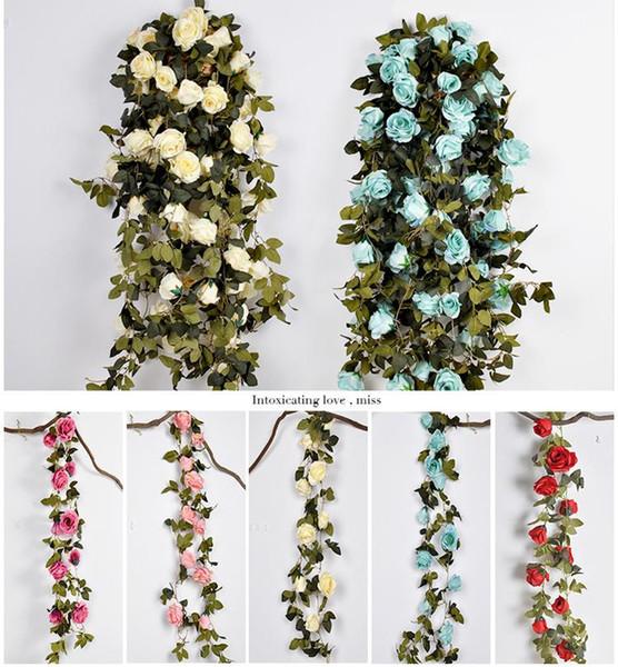 210 cm falsas rosas de seda grandes hiedra vid flores artificiales con hojas de ratán inicio fiesta de bodas decoración colgante guirnalda decoración rosa vid