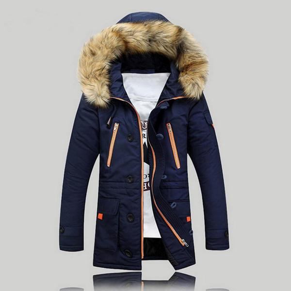 Männer-Winter-warme Kapuzenjacke Men Cotton Outwear Männer Thick Mäntel beiläufige Windschutz Jacken Zipper-Pelz-Kragen Mäntel 2019 Neu