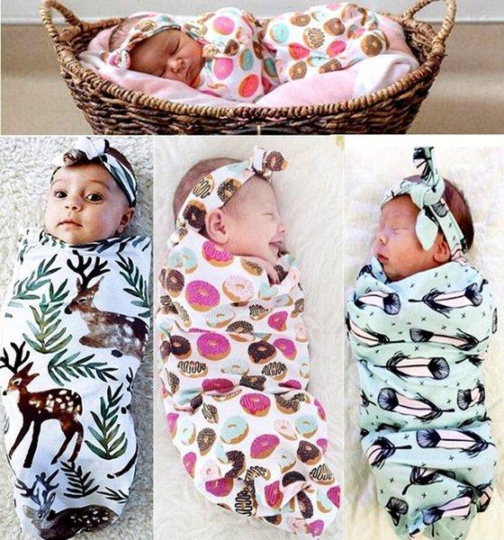 INS nuevo bebé infantil Swaddle bebés niños niñas muselina manta diadema bebé recién nacido suave algodón capullo saco de dormir conjunto de dos piezas sacos de dormir