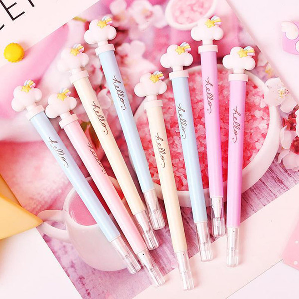 4 Pcs/set Lovely 0.5mm Cloud Star Light Press Gel Pens Black Ink Neutral Pen Writing Pens for Kids Gift Stationery Supplies