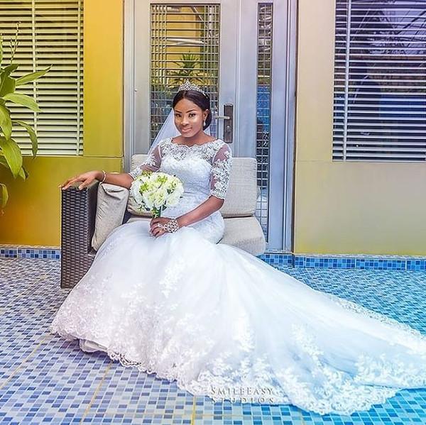 2019 África Do Sul Estilo de Manga Curta Sereia Vestidos de Casamento Bateau Pescoço Rendas Apliques Sereia Jardim Vestidos De Noiva Vestido De Noiva Personalizado