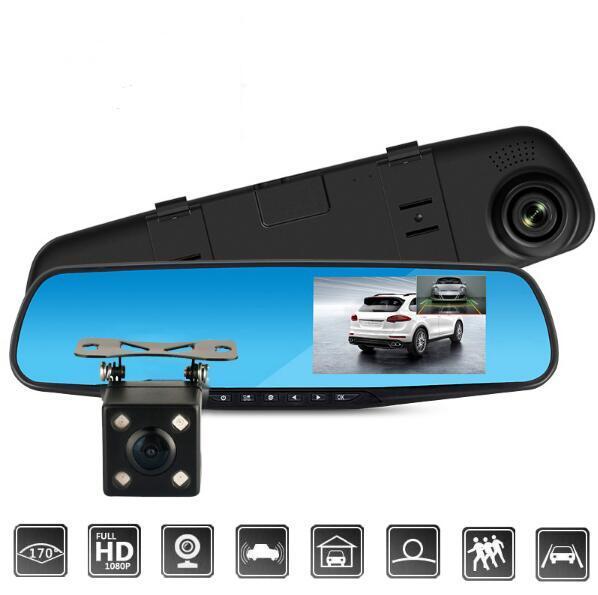 Full HD 1080 p 4.3 Polegada Carro Dvr Câmera Espelho Retrovisor Gravador De Vídeo Digital Dupla Lente Registrator Camcorder
