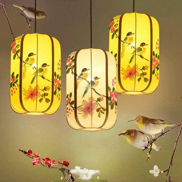Chinese Hand-Painted Lanterns Restaurant Pendant Light Balcony Corridor Hanging Lamp Pastoral Birds Bedroom Dining Room Pendant Lamps