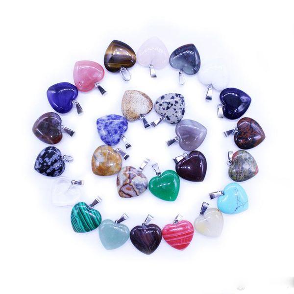 Charms Natural Stone Love ciondolo cuore di cristallo agata Jade pietra preziosa del turchese che intaglia capo di scheletro per i monili la collana che fa 20 * 20mm