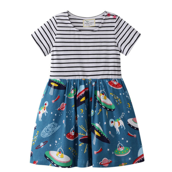 2019 New Baby Girls Stripe Patchwork Dress Summer Short Sleeve Floral Printed Cartoon Cotton Princess Dresses Kids design Clothing Clothes