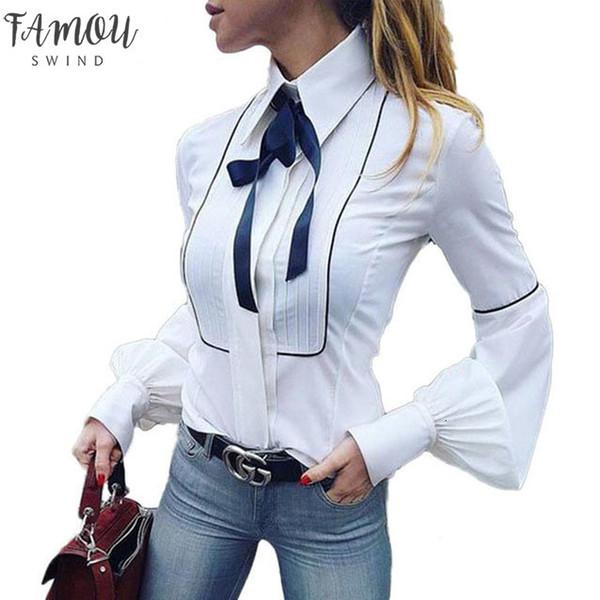 Office Bow Tie Blouse Women Lantern Sleeve White Button Necktie Shirts Female Elegant Work Shirt Casual Tops New Spring