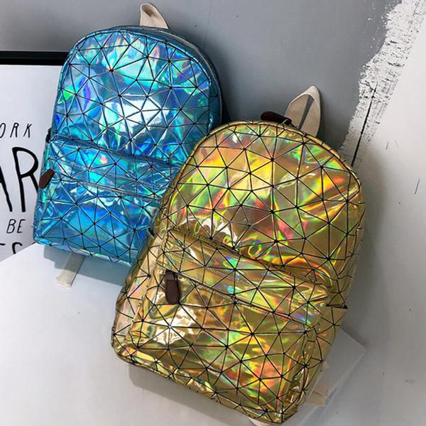 Fashion Holographic Geometric Laser Backpack Men Outdoor Laptop Backpack School Book Bag Casual Travel Daypack Women Backpack LJJT474