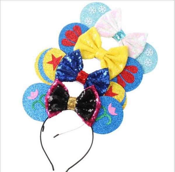 Kids Mickey Bow Headband Snowflake Flower Print Hair Band Cartoon Child Bow Hairband Kids Colorful Hair Ring Girls Hair Accessories LT307