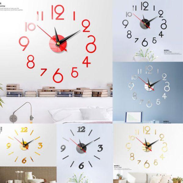 Modern DIY Grande Digital Relógios De Parede 3D Espelho Acrílico Superfície Etiqueta Sala de estar Decoração de Casa de Quartzo Arte Projeto de Agulha Novo
