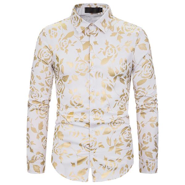 White Rose Floral Bronzing Nightclub shirt Homens Chemise Homme 2019 Mens Fashion botão de vestido Camisa smoking camisas XXL