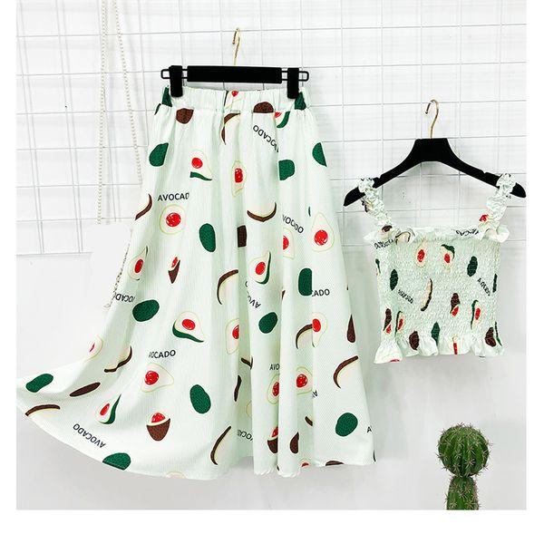 Taotrees Women Summer Fruit Print Tank Top+ High Waist Elastic Skirt 2 Piece Female Suits
