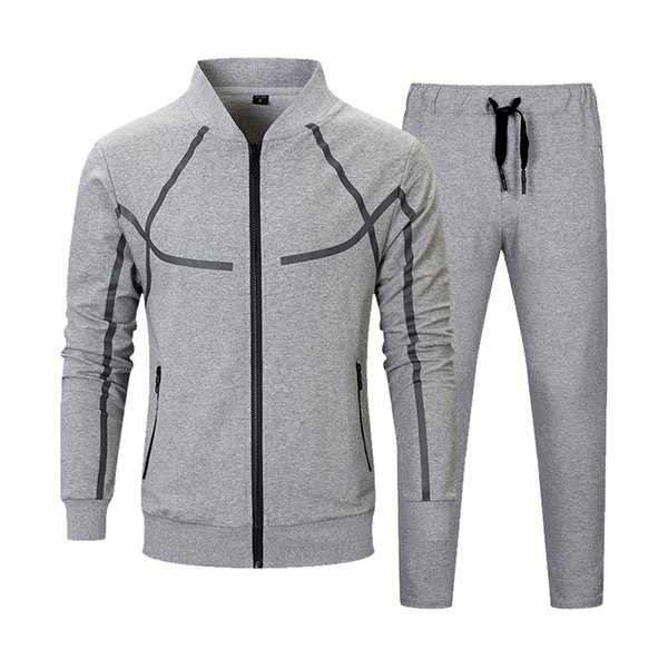Men Set Casual Autumn Fashion Jacket+Pant 2 Piece Suit Male Clothing Tracksuit Outwear Hoodies Zipper Men's Sportswear Sets 2018