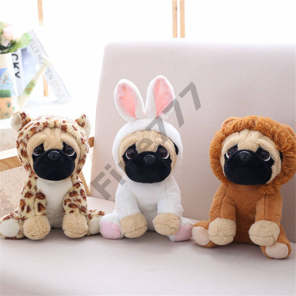 top popular Pug plush toy cute animal soft stuffed doll dog cosplay dinosaur elephant kids toys birthday christmas gift for children 2020