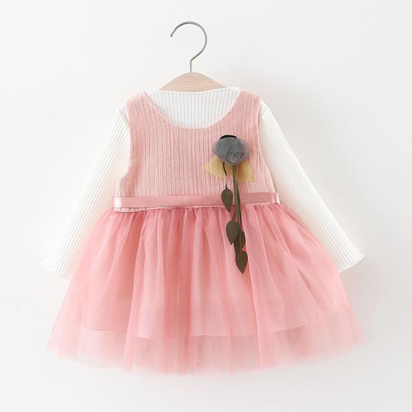 Bonne qualité petites filles Printemps Automne Long Sleeve Cartoon Dress 2pcs Vêtements Bébé Filles Princesse Style Dress pour 1-4 ans