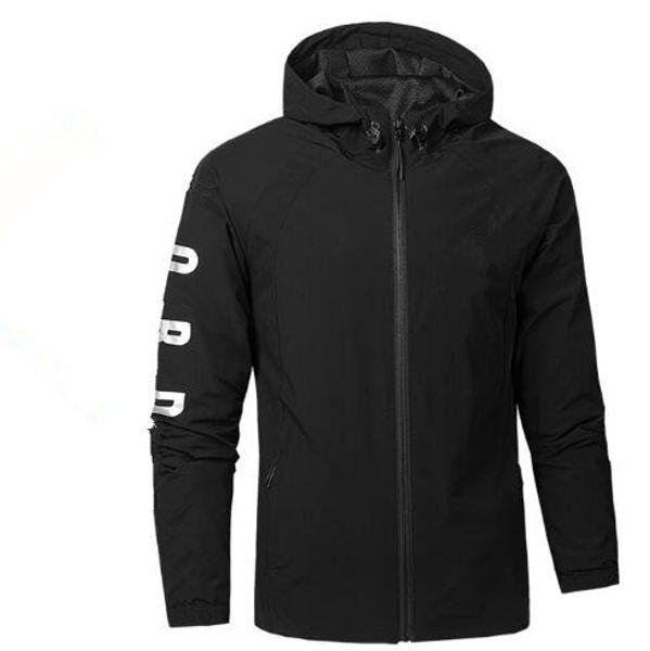 Мужская дизайнерская куртка спортивная тонкая ветровка с капюшоном МОДА СТИЛЬ спортивная одежда белый и черный Азиатский размер S-3XL