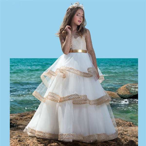 Vestido daminha gold flower girl dresses for wedding beaded kids evening gowns first communion dresses for girls with train