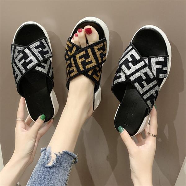 Designer Women Sandals Double F FF Shoes Summer Slide Slippers Brand Fashion Fends Flat Thick Bottoms Flip Flops Street Beach Shoes C6506