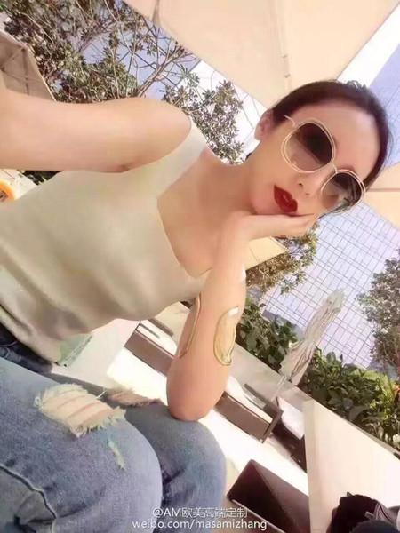 Moda rotonda occhiali da sole grandi occhiali da sole per le donne Occhiali da sole oversize Marca sfumatura arcobaleno Lenti in vetro con 119s Scatola originale