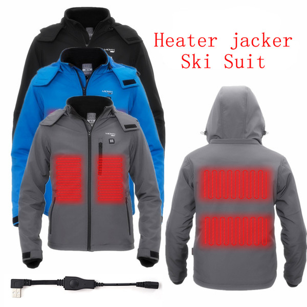 Heater jacker Winter 5V USB Heated Men Ski Suit Outdoor clothing Warm clothes coat