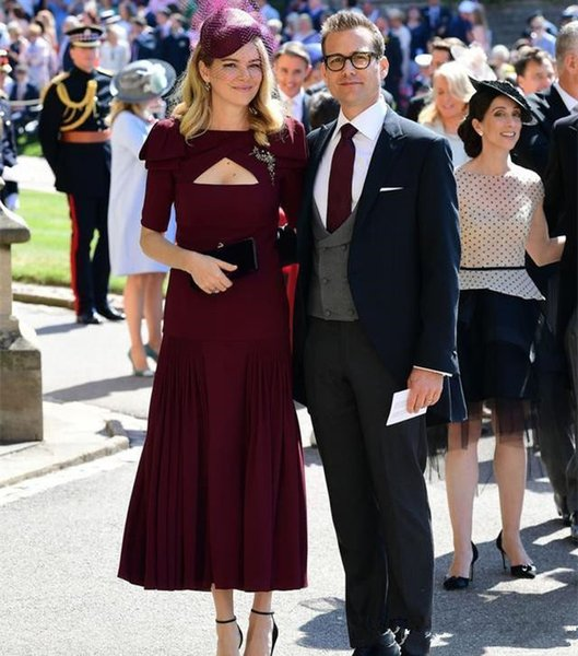 2019 Burgundy Mermaid Short Mother Of The Bride Dresses Simple Cheap Wedding Guest Dress Celebrity Gowns Custom Made Evenng