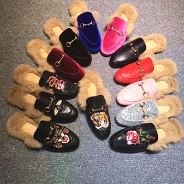 2019 New Fashioh deep mouth Fur Women's Autumn Winter Slip-on Flat Fur Boots Women Wear Rabbit Fur Shoes for Female Leather Boots