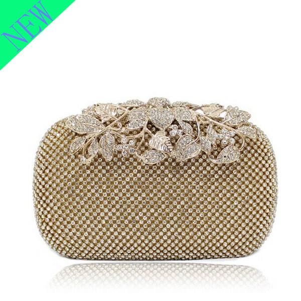 best selling Crystal Lyne Leaf Clasp Net Diamond Evening Bag Encrusted Drilling Clutch Handbag Wedding Purse Bridal Messenger Bags - R3326