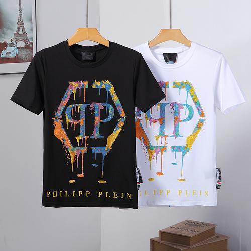 Nueva moda de verano 3d cráneo impreso Phillip llanura camiseta hombre Hip Hop O cuello manga corta camiseta hombres PP tamaño grande M ~ 3XL Top 014
