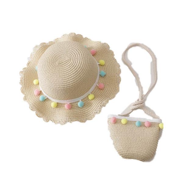 Korean Summer kids designer hats+kids bag 2pcs/set cute kids hats princess girls Straw Hat girls Bucket Hat+purses beach suits A6214