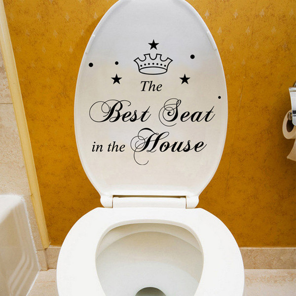 Best Seat in the House characters Crown Toilet Stickers Bathroom Home Decoration Vinyl art Decals Funny waterproof wall sticker