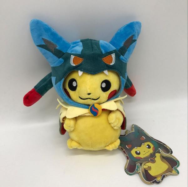 "Lucario Cape Pikachu Plush Soft Toy Doll Teddy 9"" Stuffed Animal Pikachu Anime Character"
