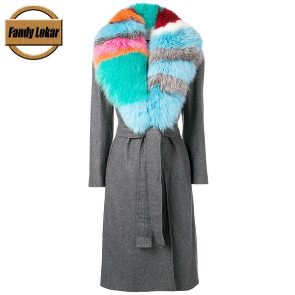 Fandy Lokar Wollmantel Jacken Frauen Winter Warm Echt Big Fox Pelzkragen Mäntel Mantel Weibliche Kontrast Kragen Mantel Jacke