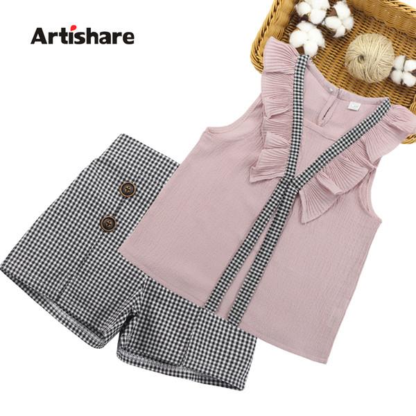 Clothing Set Summer Kids Vest + Plaid Shorts 2pcs Suits For Girls Clothes 6 7 10 11 12 14 Years Q190523