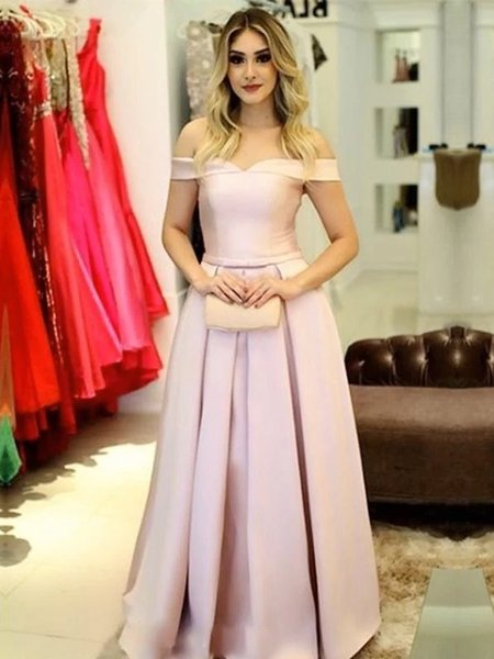 Off The Shoulder Cap Sleeve Satin Pink Prom Dresses A Line Pleated Skirt  Nordstrom Party Dresses Corset Low Back Long Dresses For Formal Plus Size  ...