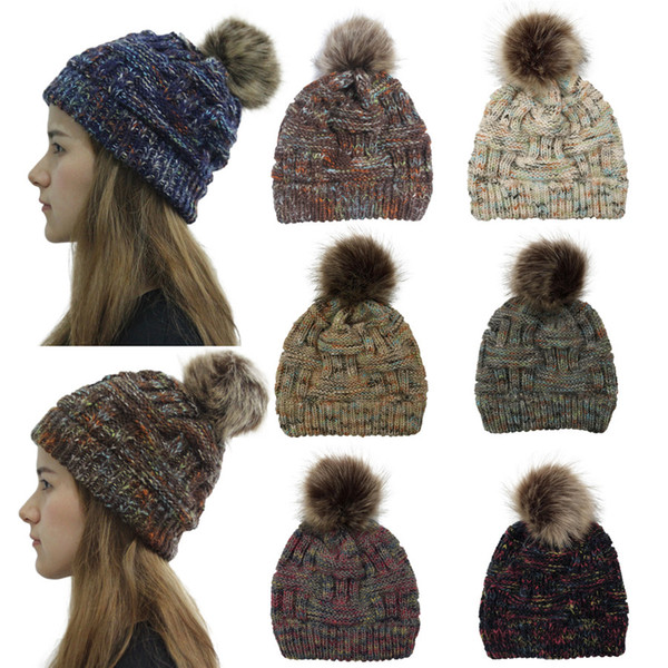 Winter Women Knitted Hat Warm Pom colorful Wool Hat Ladies Skull Beanie Solid Female Outdoor Caps ST684