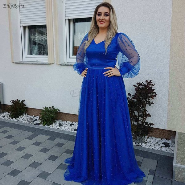 Plus Size Royal Blue Evening Dresses Illusion Long Sleeve Pearls V-Neck A-Line Tulle Puffy Dinner Dress Evening Gown for Mother of the Bride