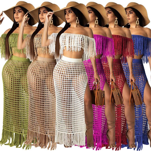 Sexy Knitted Cover Ups Maxi Skirt Set Women 2019 New Fashion Crocheted Beachwear Split Skirt Suit Knit Beach Suits Two Pieces Summer Dress