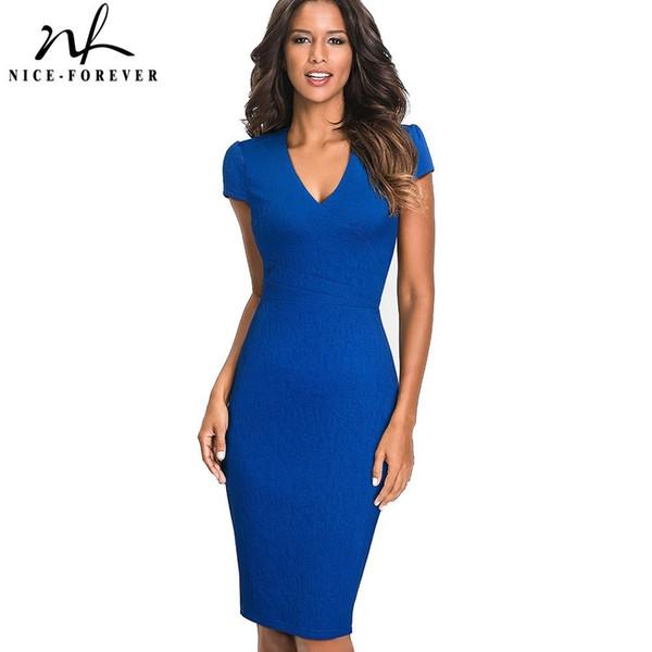 Nice-forever Vintage Elegant Solid Color Floral Wear To Work Jacquard Vestidos Bodycon Office Business Sheath Women Dress B435 Y190426