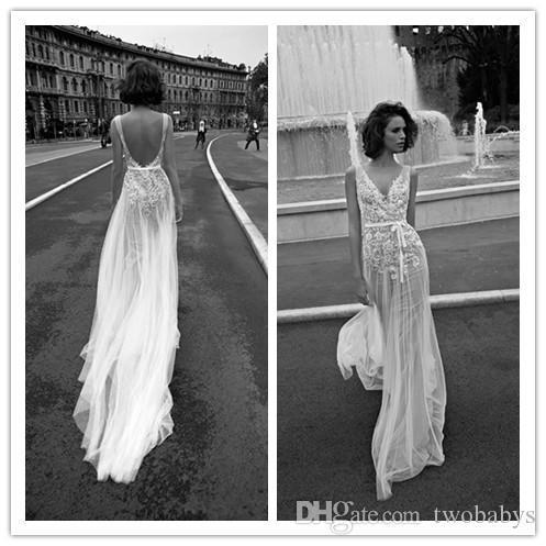 Liz Martinez Vintage Dantel Çiçek Plaj Boho Gelinlik V Yaka Backless Ucuz Ücretsiz Insanlar Bohemian Sokak Gelin Elbise