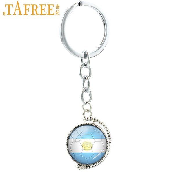TAFREE Ball fans key chain double sides Argentina football team keychain City Map London Dallas Denver men women jewelry N487