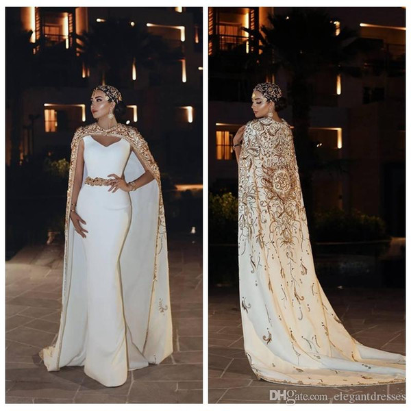 2019 Scoop Neck Slim Mermaid Evening Dresses With Cape Embroidery Beaded Long Vestidos De Soiree Prom Dresses Party Gowns Middle East