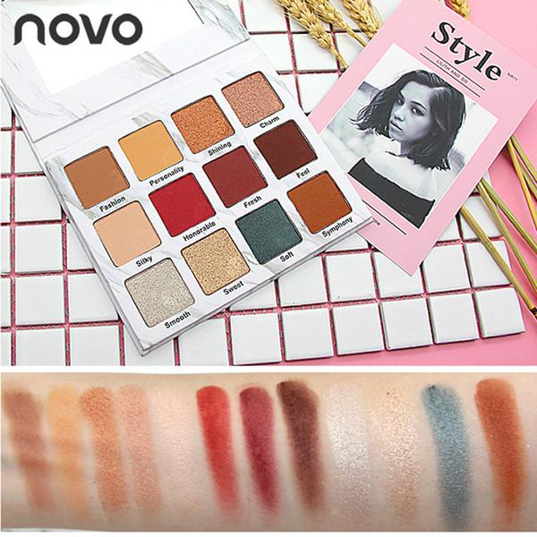 NOVO Marble Matte Eyeshadow Glitter Palette Hot sale 12 Colors Shimmer Smoky Eye Shadow Beauty Makeup Set Popular pigment Naked