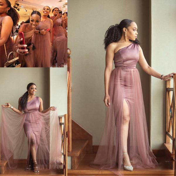 Seksi Yan Bölünmüş Mermaid Uzun Gelinlik Modelleri Bir Omuz Sweep Tren Overskirts Örgün Akşam Balo Elbise Parti Törenlerinde
