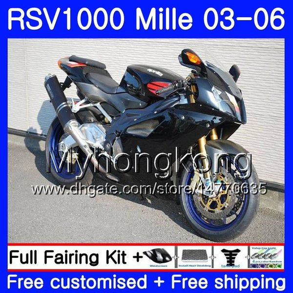 Body For Aprilia RSV 1000R 1000 RV60 Mille RSV1000 R RR 03 04 05 06 316HM.17 RSV1000RR RSV1000R Stock black new 2003 2004 2005 2006 Fairings