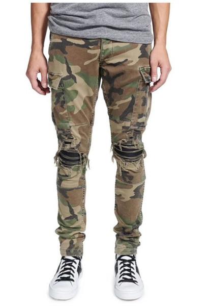 Fashion Street Männer Jeans Tarnung große Tasche Cargo Pants Slim Fit Leder Patch-Designer Ripped Hip Hop Jeans