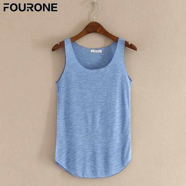 Summer Tank Top For 2019 Crop Female Bamboo Cotton Women Vest Loose Ladies Solid Color Tops C19041601