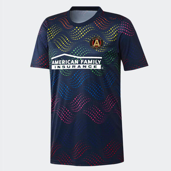 top popular 2019 20 MLS Men's Atlanta United Navy Pride Pre-Match Top soccer jersey Football shirt 19 20 MLS Pride Pre-Match jerseys soccer jerseys 2019