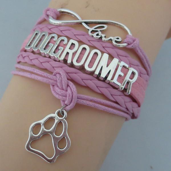 Fashion Infinity Love Dog Groomer Bracelets Paw Pendant Chain Bracelet Rope Leather Velvet Jewelry Animal Lovers's Gifts