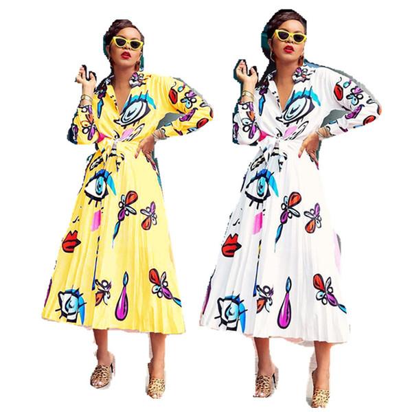 Dames Chemisier Jupe Ensembles Big Eyes Lips imprimés Femmes Tenues Mode Chemise à manches longues Robe plissée Costume Party Night Club Robes C71704