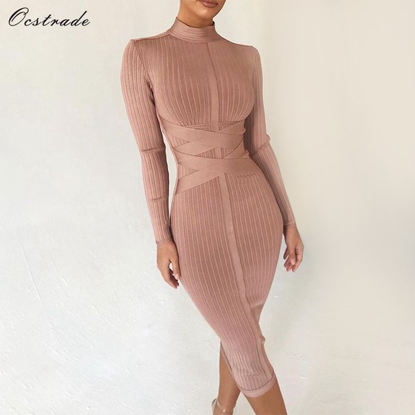 Ocstrade Bodycon Dress 2019 Nude Turtleneck Rayon Long Sleeve Bandage Dress High Quality Ribbed Womens Midi Bandage Dress Sexy T4190605